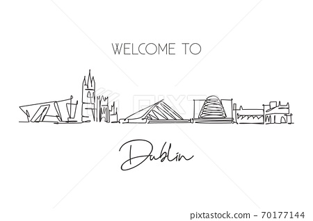 One continuous line drawing of Dublin city skyline, Republic of Ireland 70177144