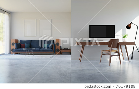 Home office interior with desk and computer,3D rendering 70179189