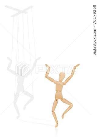Happy puppet, but covertly dependent on a marionette control bar in the shadow - symbolic for to be led from behind, for manipulation, domination, authority, force, dependence. Vector on white. 70179269