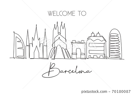 One single line drawing of Barcelona city skyline, Spain 70180087