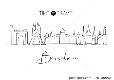 Single continuous line drawing of Barcelona city skyline, Spain 70180098