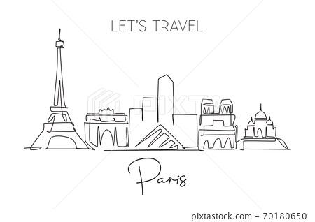 One single line drawing of Paris city skyline France 70180650