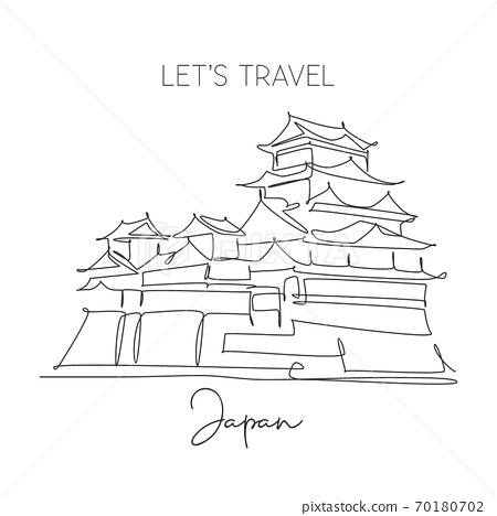 One continuous line drawing Himeji Castle landmark 70180702