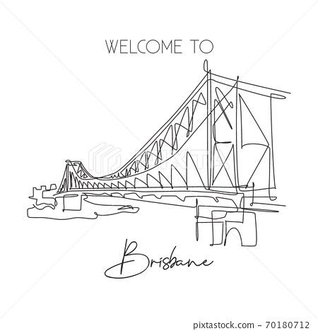 Single continuous line drawing Story Bridge landmark 70180712