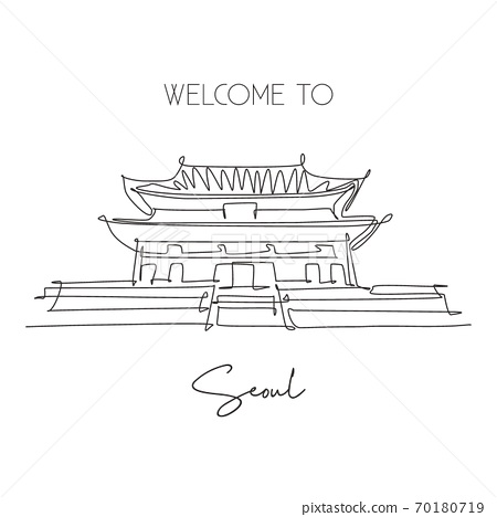 One continuous line drawing Gyeongbokgung Palace landmark 70180719