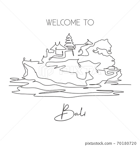 One single line drawing of Tanah Lot landmark. World famous natural hill in Bali, Indonesia 70180720