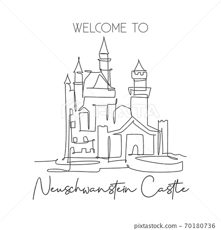 One single line drawing Neuschwanstein Castle landmark 70180736