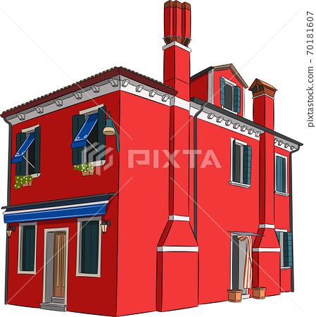 Bright red house on the island Burano. 70181607