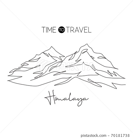 Single continuous line drawing Himalayan Mount Everest landmark. Beautiful famous place in Nepal 70181738