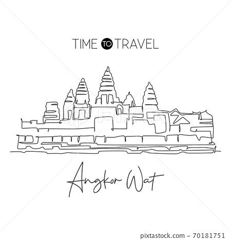 Single continuous line drawing Angkor Wat Temples landmark. Famous place in Siem Reap, Cambodia 70181751