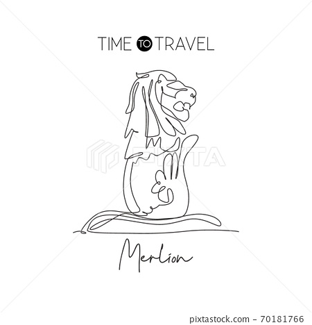 Single continuous line drawing Merlion fountain to landmark. Beauty famous place in Singapore 70181766