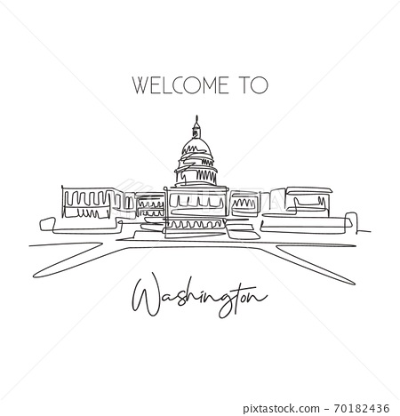 One single line drawing Capitol Hill landmark. World famous place in Washington DC 70182436