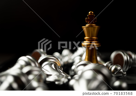 Golden King chess is last standing in the chess board, Concept of successful business leadership 70183568