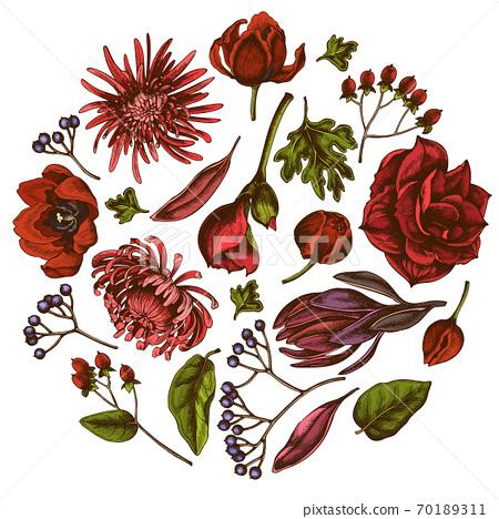 Round floral design with colored viburnum, hypericum, tulip, aster, leucadendron, amaryllis 70189311