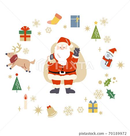 산타 클로스와 크리스마스 소재의 일러스트 세트 70189972
