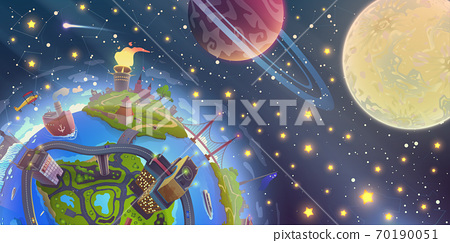 Fantasy space landscape with magic 3d Earth over night sky with stars, Moon and planets illustration in vector, globe drawing over dark cosmos in cartoon style. 70190051