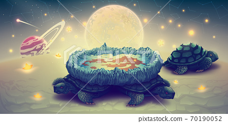 Flat earth model on a three turtles, concept cosmology of flat world in space with solar system, sun, moon and stars. Disk globe theory vs spherical planets. Fantasy landscape, vector illustration. 70190052