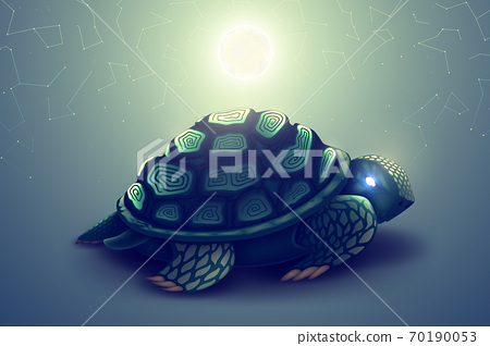 Turtle with mosaic shell, wild animal in nature, predatory reptile, marine tortoise predator in wildlife. Vector illustration 70190053