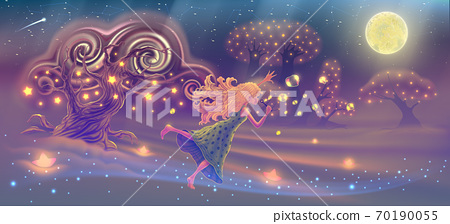 Fantasy forest landscape with dreaming girl blowing soap bubbles in the sky with magic trees, stars, moon, fairy tale panoramic vector illustration, imaginary world 70190055