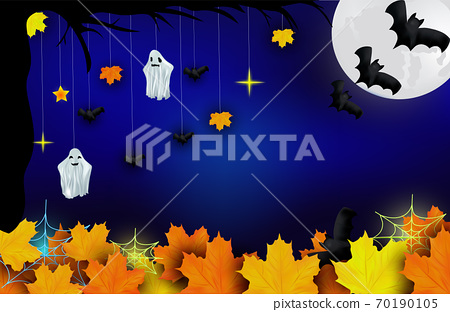 Happy Halloween. Ghosts, bats, yellow autumn leaf and bright moon on dark background. Character halloween from another world, the afterlife. Vector illustration 70190105