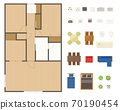 Floor plan layout set for condominiums and houses 70190454
