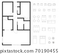 Floor plan layout set for condominiums and houses 70190455