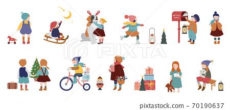 Vintage style cute Scandinavian winter kids. Children and babies wearing fashion bohemian clothes 70190637