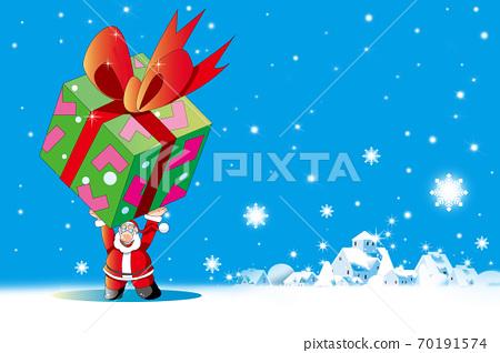 눈 내리는 거리에 산타 클로스 큰 선물 70191574