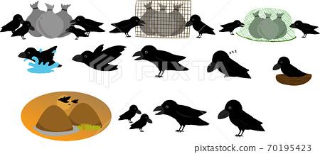 可愛的烏鴉,返回山上飛,睡覺,戳垃圾的插圖集 70195423