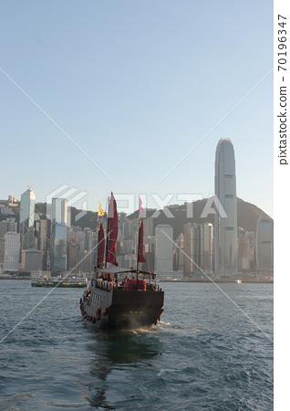 3 Aug 2007 Traditional Sail junk ship in modern Hong Kong. 70196347