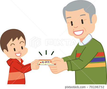 A boy who gets a new year's gift from his grandfather 70196732