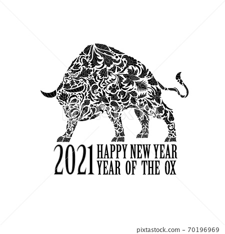 Vector bull with an ornament. Symbol of the year 2021. Black and white 70196969