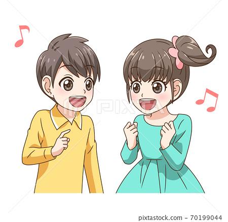 兩個孩子開心地聊天 70199044