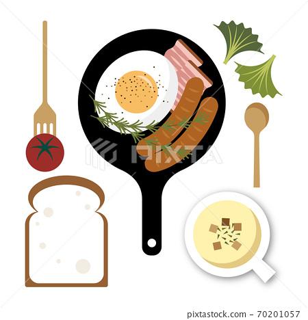 식빵과 계란 후라이 식사 일러스트 70201057