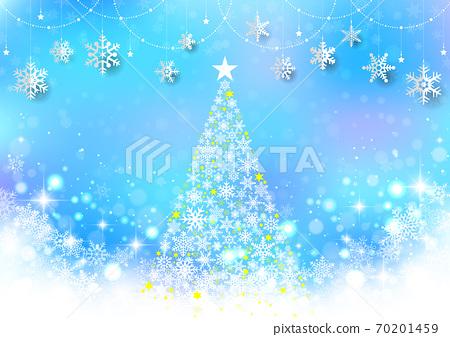 반짝이 ☆ 크리스마스 트리와 눈송이 장식의 간단한 풍경 하늘색 70201459