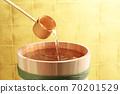 Sake (image of sake in a barrel in front of a gold folding screen) 70201529