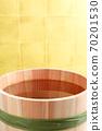 Sake (image of sake in a barrel in front of a gold folding screen) 70201530
