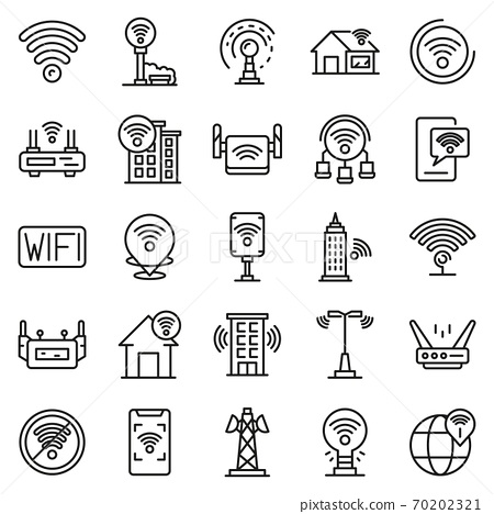 Wifi zone icons set, outline style 70202321