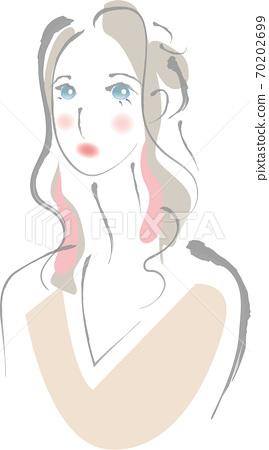 긴 머리의 여성 상반신 70202699