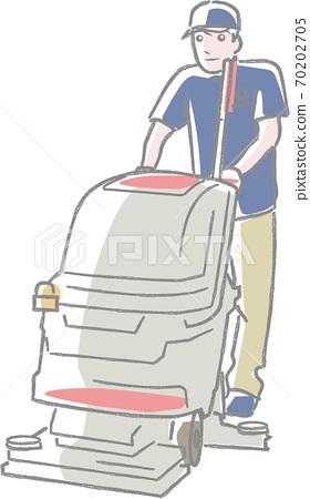진공 청소기를 사용 청소원 70202705