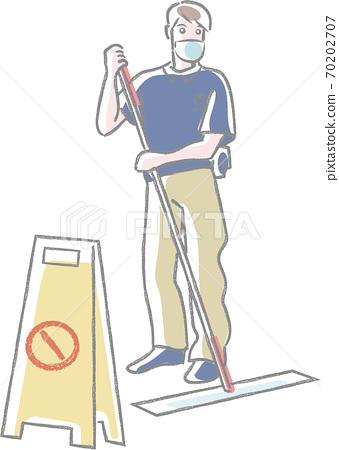 마스크를하고 걸레를 사용 청소원 70202707