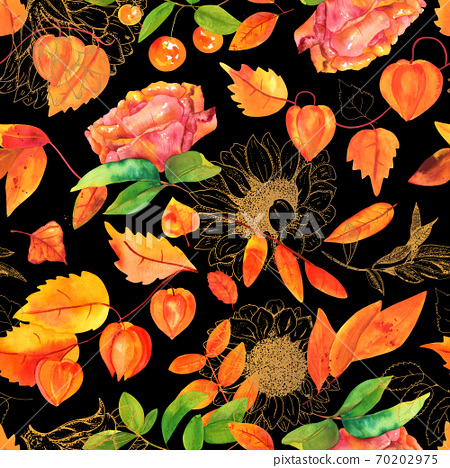 Seamless pattern with watercolor autumn leaves and flowers 70202975