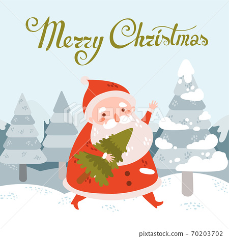 Merry christmas vector postcard with Santa Claus with tree in winter landscape 70203702