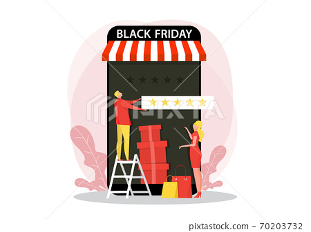 man giving 5 stars, feedback and rating on black Friday. Flat vector illustration for web 70203732
