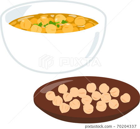 병아리 콩 카레와 건조 병아리 콩 70204337