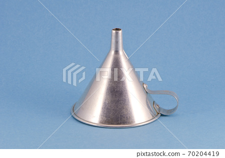 retro metal funnel hopper tool on blue background 70204419