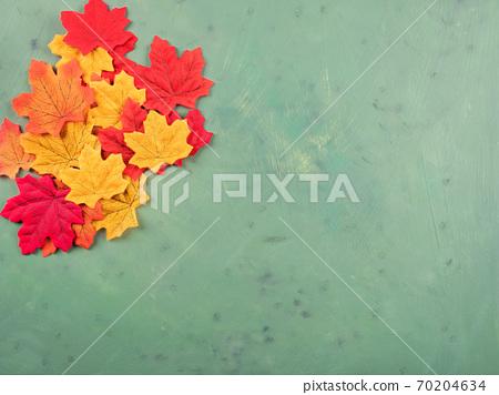 Multi color maple leaves on dark green 70204634