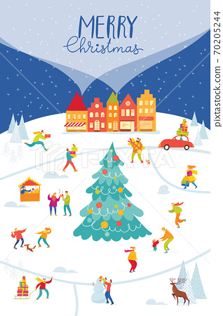 Christmas Market poster with city map and people doing winter activities. 70205244
