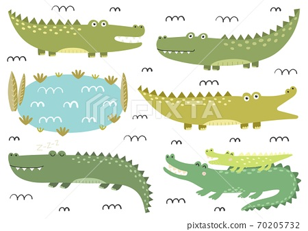 Funny crocodiles collection. Cute alligators in childish style. Safari characters 70205732