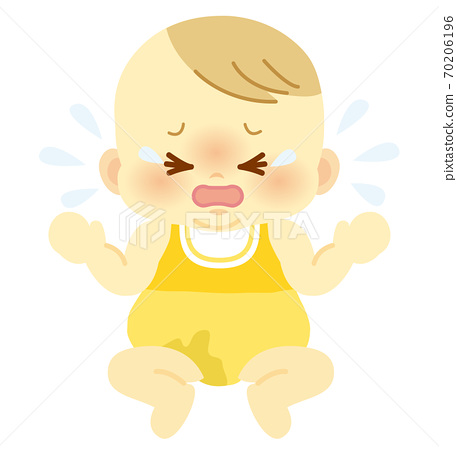 Baby with crying face with unpleasant pee stains in baby clothes_Baby full body illustration 69 70206196